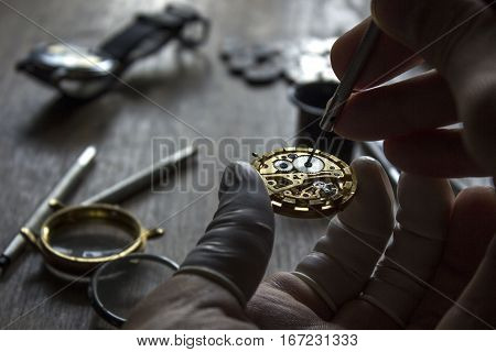The procces of watch repair with special tools