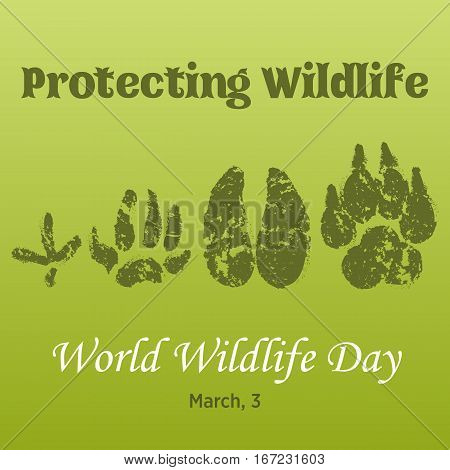 World Wildlife Day background with with animals tracks. Vector illustration for you design, card, banner, poster, calendar or placard template. March 3. Holiday Collection.