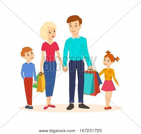 Shopping people. Young family goes along with joint purchases at the mall, hold hands and carry bags with the goods.Children with parents. Vector illustration.