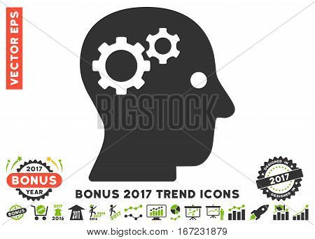 Eco Green And Gray Intellect Gears pictogram with bonus 2017 trend pictograms. Vector illustration style is flat iconic bicolor symbols, white background.