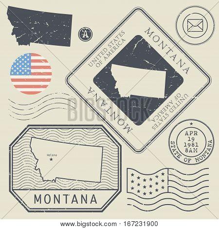 Retro vintage postage stamps set Montana United States theme vector illustration