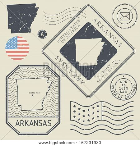 Retro vintage postage stamps set Arkansas United States theme vector illustration