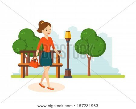 Shopping people. Girl in a skirt and blouse, go out of the store, walks in the park resting in his hand holding bag and goes on the road against the background of the streets. Vector illustration.
