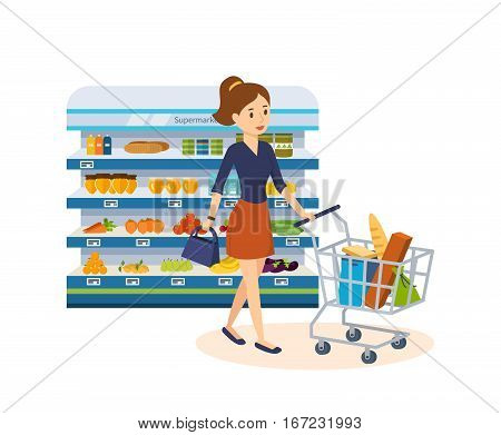 Shopping people. Girl dials products a purchase at the grocery store carries the cart with the products. On the shelves of the supermarket variety of products for purchase. Vector illustration.