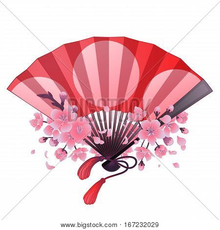 Hand fan in red and pink colors with traditional japanese design and sakura decorations. Vector illustration isolated on white background
