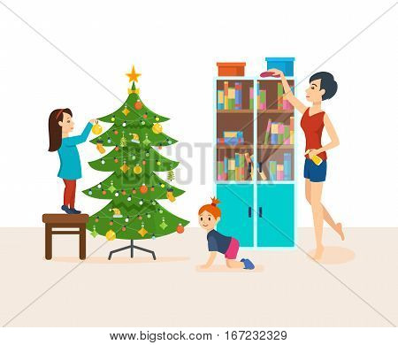 Young mother a housewife is engaged in cleaning the room, wiping dust in the closet, baby daughter crawling on the floor and playing, the eldest daughter decorates the tree on Christmas Eve.