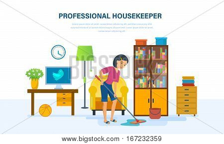Woman professional housekeeper washes the floors with a mop in the room, engaged house cleaning, completed household duties, against the background of an interior room. Vector illustration.