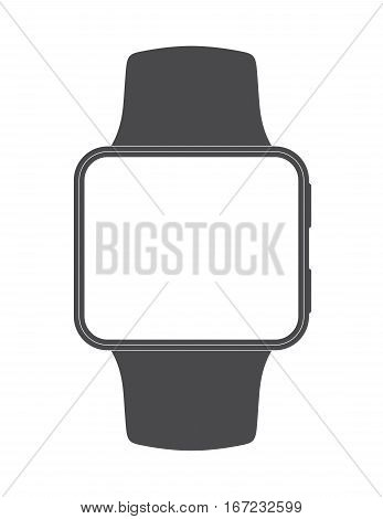 Black plain Apple smartwatch look-alike with square screen shape and blank display for easily editing with desired graphic content