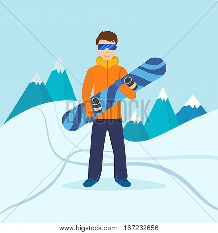 Concept - people and winter sports. The young man in winter clothes and sunglasses, standing on the slope of the mountain, holding in the hands of a snowboard. Vector illustration.