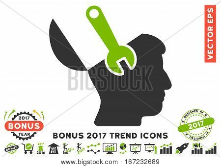 Eco Green And Gray Mind Wrench Surgery pictogram with bonus 2017 year trend images. Vector illustration style is flat iconic bicolor symbols, white background.