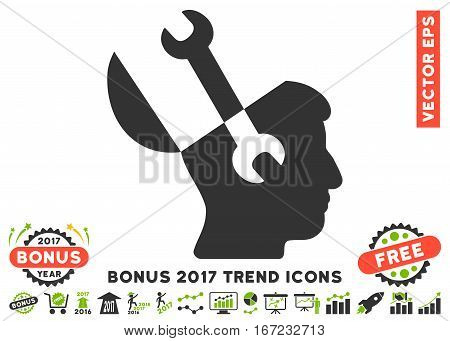 Eco Green And Gray Mind Wrench Tools icon with bonus 2017 year trend images. Vector illustration style is flat iconic bicolor symbols, white background.