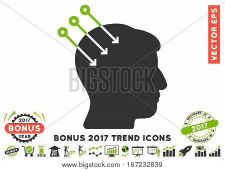 Eco Green And Gray Neural Interface Connectors pictograph with bonus 2017 year trend pictograms. Vector illustration style is flat iconic bicolor symbols, white background.