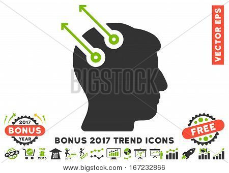 Eco Green And Gray Neural Interface Plugs pictogram with bonus 2017 year trend icon set. Vector illustration style is flat iconic bicolor symbols, white background.