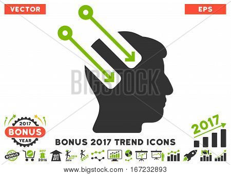 Eco Green And Gray Neural Interface pictogram with bonus 2017 trend design elements. Vector illustration style is flat iconic bicolor symbols, white background.