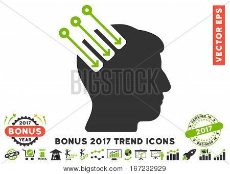 Eco Green And Gray Neuro Interface icon with bonus 2017 trend pictures. Vector illustration style is flat iconic bicolor symbols, white background.