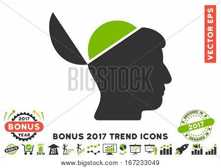 Eco Green And Gray Open Brain pictograph with bonus 2017 year trend icon set. Vector illustration style is flat iconic bicolor symbols, white background.