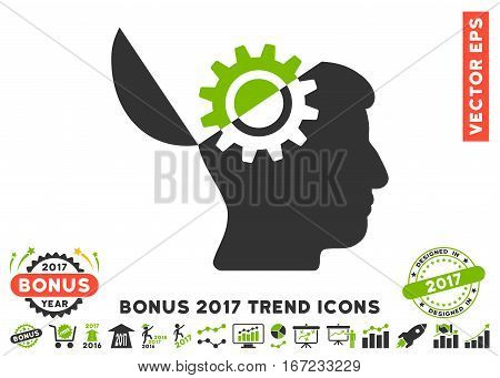 Eco Green And Gray Open Mind Gear pictogram with bonus 2017 year trend design elements. Vector illustration style is flat iconic bicolor symbols, white background.