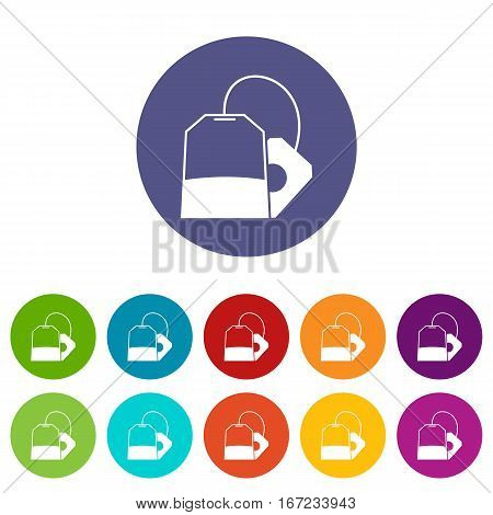 Teabag set icons in different colors isolated on white background