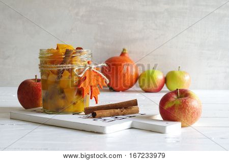 home made pumpkin chutney with apple, raisins and cinnamon