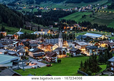 night scene of Corvara village in Badia Valley Alto Adige Italy