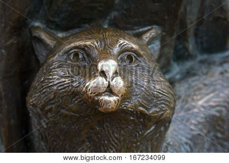 Lucky Cat is a part of sculptural group in City of Dmitrov, near Moscow