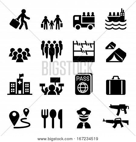 Refugee immigrants immigration icons set vector graphic