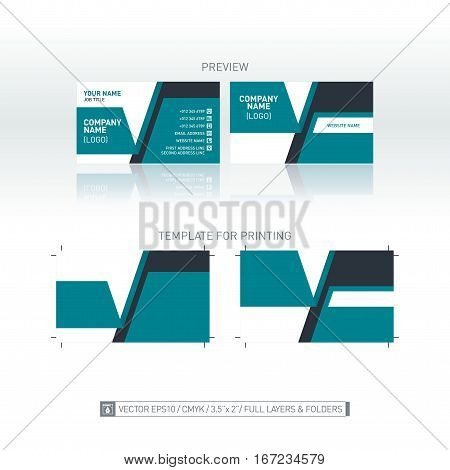 Modern business card background. One-to-one dimensions for printing. Isolated vector template. Full layers and folders.