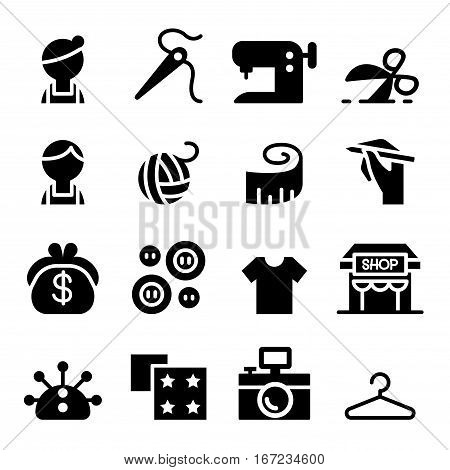 Sewing fashion Tailor Clothing Dressmaker icon set in thin line style