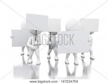 3d illusration. Group of white people protesting. Human rights concept. Isolated white background