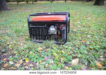 Portable Generator - Outdoor Power Equipment After Hurricane Damage. Preparing for A Hurricane with A Hurricane Generator