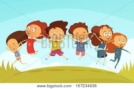 Cartoon team of cheerful friends holding hands and jumping together outdoors flat vector illustration in retro style
