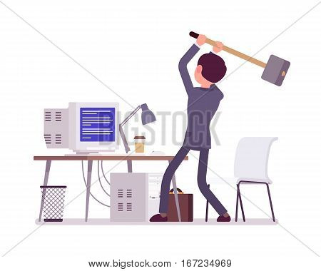 Young man, frustrated user, holding a big hammer, is about to crash an old computer with Blue Screen of Death, home desktop error screen displayed on it, system fatal problem, office PC gets hanged up