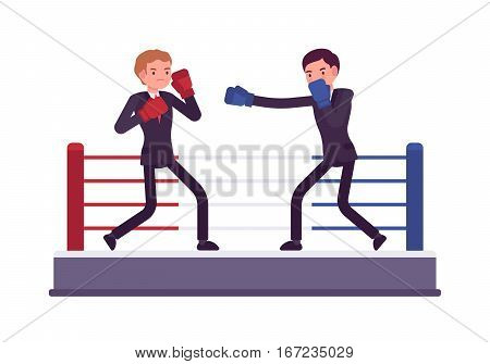 Two young businessmen in boxing ring, wearing protective gloves, throwing punches at each other, attacking, real male combat sport for fair competition to win market, profit, fight to define stronger
