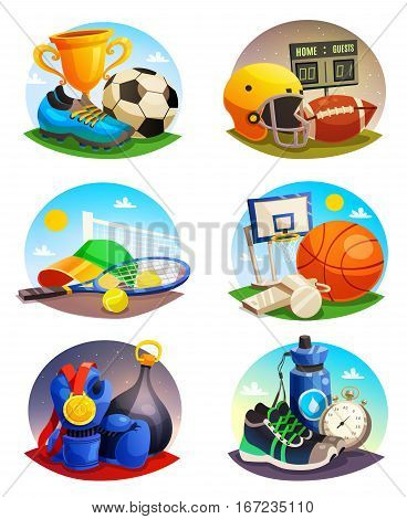 Collection of isolated design pictures with sport inventory for rugby tennis football basketball games flat vector illustration