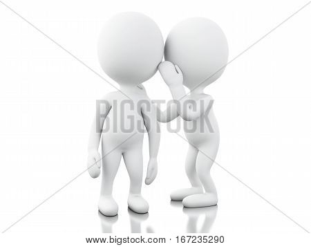 3d renderer image. White people whispering to another. Isolated white background.