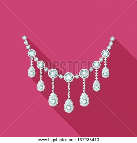 Necklace with diamonds in flat style. Vector illustration
