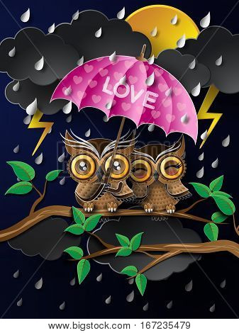 Owl holding an umbrella in the rain.paper cut style.