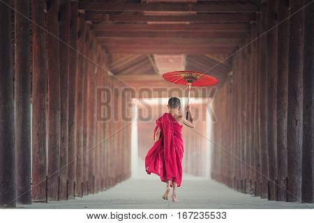 King, umbrellas, eating, Asia, Bagan, belief, boy, Buddha, Buddhism, Buddhist culture, monks, Burma, novice, prayer, red, relaxation, religion, religious, religious temples. tradition, traditional, worship, background illustrations.