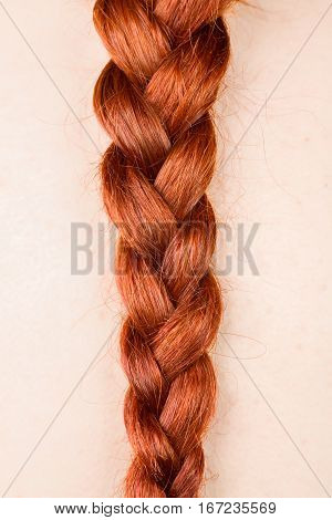 Close Up of a Redhead Woman's Braid