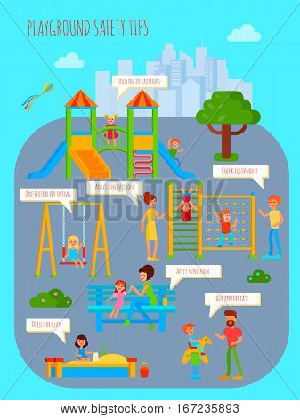 Playground infographics with flat colorful cartoon childrens playground urban scenery people characters and rectangular thought bubbles vector illustration