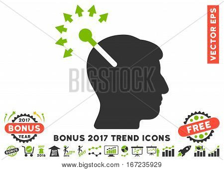 Eco Green And Gray Optical Neural Interface pictograph with bonus 2017 trend clip art. Vector illustration style is flat iconic bicolor symbols, white background.
