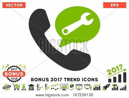Eco Green And Gray Phone Service Message icon with bonus 2017 year trend pictograph collection. Vector illustration style is flat iconic bicolor symbols, white background.