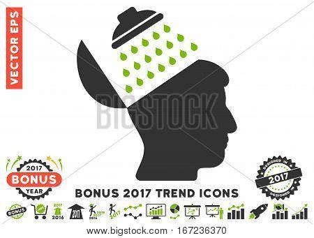 Eco Green And Gray Propaganda Brain Shower pictogram with bonus 2017 trend clip art. Vector illustration style is flat iconic bicolor symbols, white background.