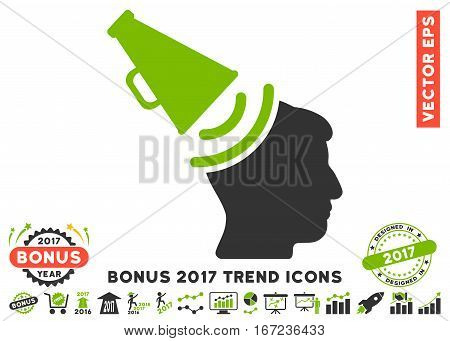 Eco Green And Gray Propaganda Megaphone icon with bonus 2017 trend pictograph collection. Vector illustration style is flat iconic bicolor symbols, white background.