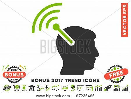 Eco Green And Gray Radio Neural Interface icon with bonus 2017 trend pictograms. Vector illustration style is flat iconic bicolor symbols, white background.