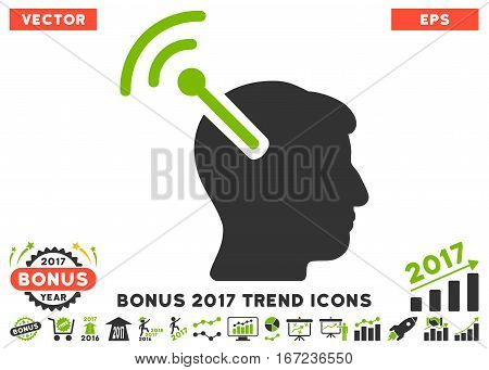 Eco Green And Gray Radio Neural Interface icon with bonus 2017 trend pictures. Vector illustration style is flat iconic bicolor symbols, white background.
