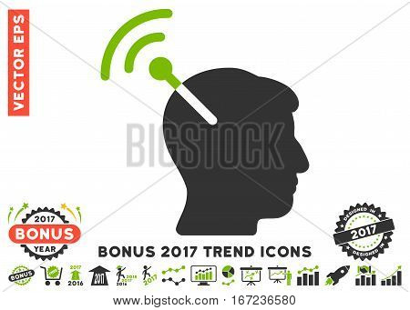Eco Green And Gray Radio Neural Interface pictograph with bonus 2017 trend pictograms. Vector illustration style is flat iconic bicolor symbols, white background.