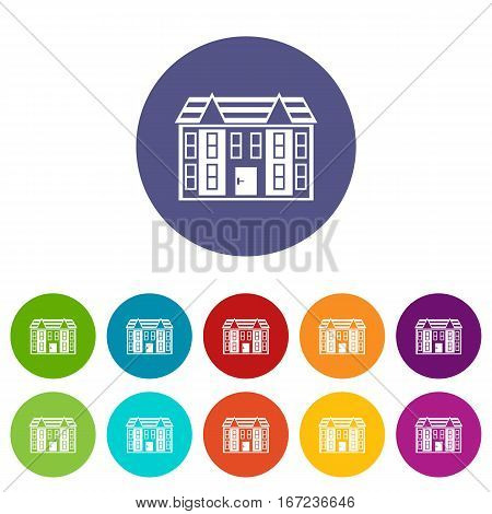 Large two-storey house set icons in different colors isolated on white background