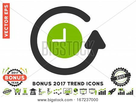 Eco Green And Gray Restore Clock pictogram with bonus 2017 year trend pictures. Vector illustration style is flat iconic bicolor symbols, white background.
