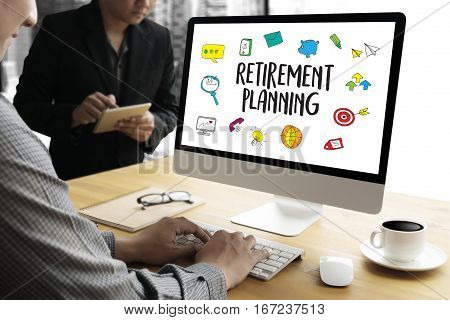 Retirement Planning    Woman And Man At Retirement Financial Planning With Consultant Or Adviser
